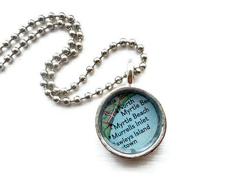 Small,Myrtle,Beach,Murrells,Inlet,Map,Pendant,Jewelry,atlas,map,travel,journey,honeymoon,petite,tiny,map_pendant,custom_map_necklace,map_necklace,tiny_map,myrtle_beach,murrells_inlet,necklace