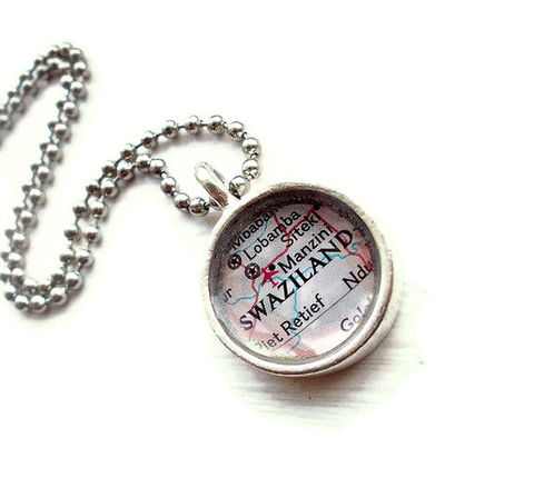 Swaziland,Map,Pendant,Necklace,Tiny,Jewelry,atlas,map,journey,honeymoon,petite,map_pendant,custom_map_necklace,map_necklace,tiny_map,swaziland,africa_map,manzini_map,missionary,necklace
