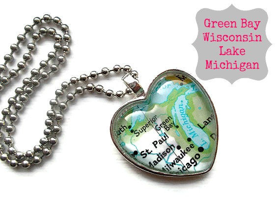 green bay wisconsin lake michigan map pendant only one