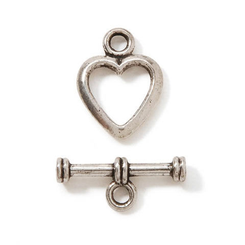 Toggle Clasp - Silver - Heart - 20 x 16mm - product images