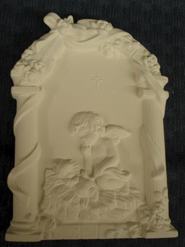 Cherub with Baby Jesus Wall Plaque Ready to Paint Ceramic Bisque - product images