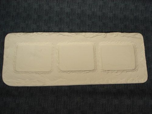 Stone Look Three Frame Plaque Ready to Paint Ceramic Bisque - product images