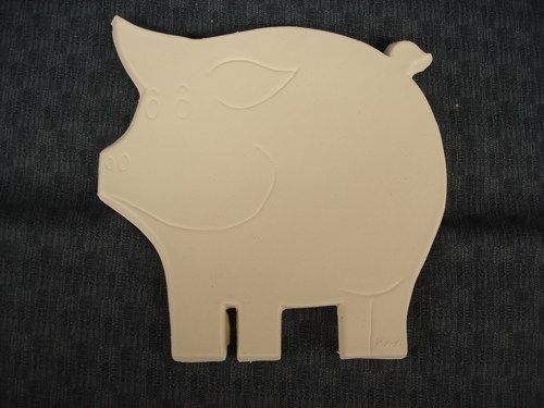 Flat Pig Hot Plate Unfinished Ceramic Bisque - product images
