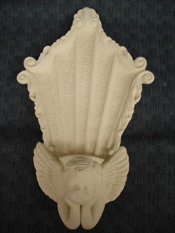 Cherub,Candle,Sconce,in,Unfinished,Ceramic,Bisque,Ready,to,Paint,ceramic bisque,ready to paint,ceramics, bisque,kg krafts,cherub,wall scone,candle holder