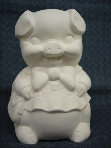 Ms. Shopping Piggy Bank Unfinished Ceramic Bisque - product images