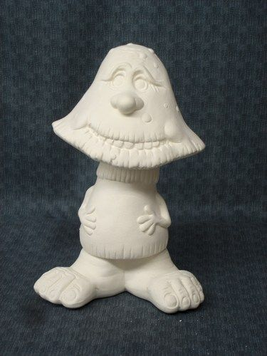 Scoots Dawdle Mushroom Ceramic Bisque Ready to Paint Garden Decor - product image