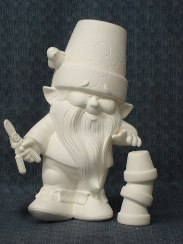 Dona molds ceramic bisque ready to paint gnome with garden for Bisque ceramic craft stores