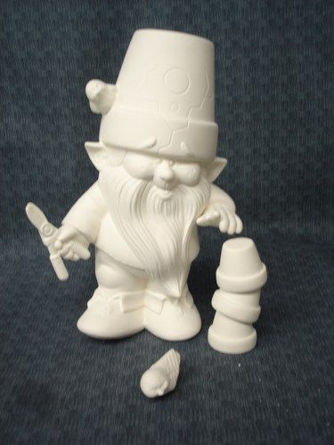 Dona Molds Ceramic Bisque Ready to Paint Gnome with Garden Accessories - product image
