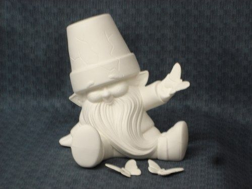 Dona Molds Ceramic Bisque Cracked Pot Gnomes Ready to Paint - product image