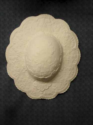 Small Victorian Lace Ceramic Bisque Hat Ready to Paint - product image