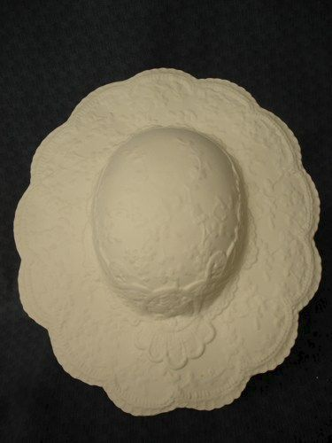 Large Ceramic Bisque Hat with Stand Ready to Paint - product image