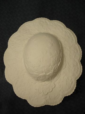Large,Ceramic,Bisque,Hat,with,Stand,Ready,to,Paint,ceramic bisque,ready to paint,ceramics, bisque,kg krafts,ceramic lace hat