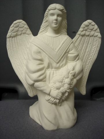 Kneeling,Angel,with,Rose,Bouquet,Ready,to,Paint,Ceramic,Bisque,ceramic bisque,ready to paint,ceramics, bisque,kg krafts,cherub,angel