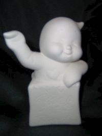 Trick,or,Treat,Halloween,Bag,with,Waving,Ghost,Unpainted,Ceramic,Bisque,ceramic bisque,ready to paint,ceramics, bisque,kg krafts,Ghost in Trick or treat bag,dona molds