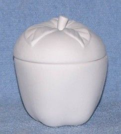 Two Piece Apple Box Unpainted Ceramic Bisque - product images