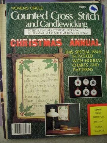 Womens,Circle,Counted,Cross,Stitch,and,Candlewicking,1984,women's circle, cross stitch, candlewicking, needlework chistmas,kg krafts