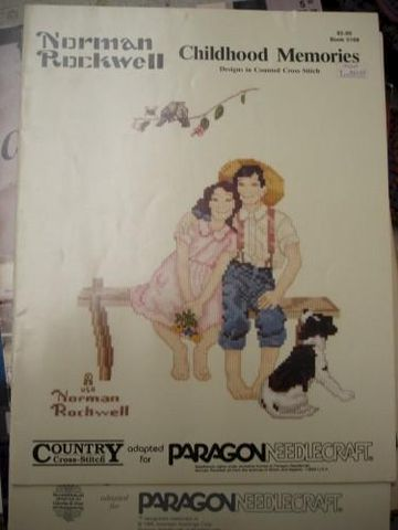 Norman,Rockwells,Childhood,Memories,in,Counted,Cross,Stitch,norman rockwell, count cross stitch, pattern, paragon needlecraft, country cross stitch, needlework