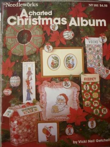 Needleworks,A,Charted,Christmas,Album,by,Vicki,Neil,Getchell,a charted christmas album, vicki neil getchell, needleworks, counted cross stitch,kg krafts