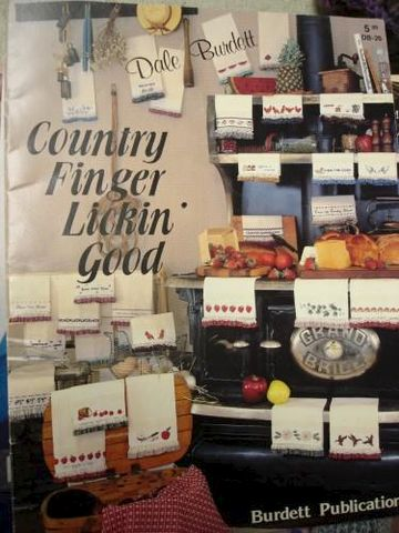Country,FInger,Lickin,Good,by,Dale,Burdett,tea towel, cross stitch, needlework, pattern, dale burnett,kg krafts