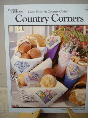 Cross,Stitch,&,Country,Crafts,Corners,Patterns,cross stitch, breadcovers, wall pockets, color charts,kg krafts,better homes and gardens,kooler design studio