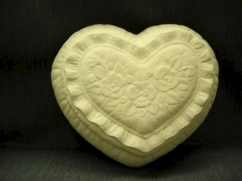 Heart Box Embellished with Flowers  Unpainted Ceramics - product images