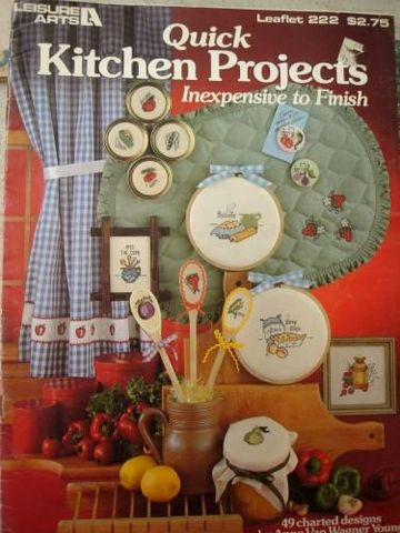Quick,Kitchen,Project,Inexpensive,to,Finish,in,Cross,Stitch,counted cross stitch, kitchen, patterns, charts, quick ,kg krafts,leisure arts leaflet 222