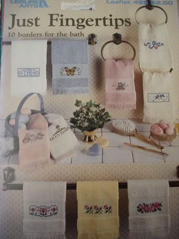Just,Fingertips,10,Borders,for,the,Bath,Leisure,arts,#485,fingertip towels, cross stitch, borders, just fingertips, 10 borders for the bath,kg krafts,leisure arts leaflet 485
