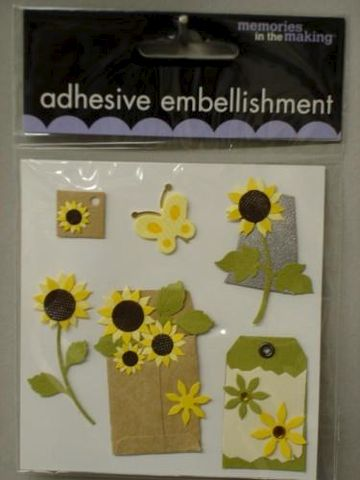 Sunflower,Stickers,from,Memories,in,the,Making,fabric,glue,metal,ribbon,paper,stickers, sunflowers, memories in the making, cards, embellishment, scrapbooking