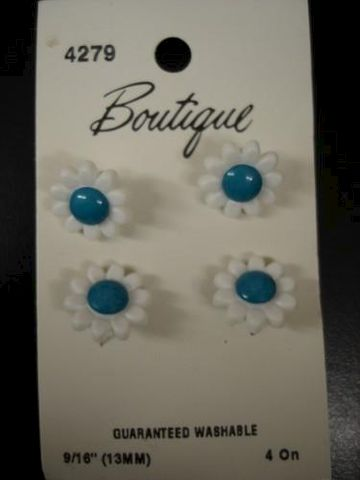 Daisy,Buttons,four,per,card,plastic,daisy, buttons, shank, white, blue