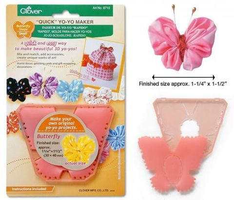 Quick,Yo-Yo,Maker,Butterfly,Shape,Small,fabric, template, clover, yo yo, butterfly, craft supplies, kg krafts