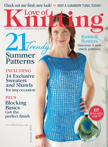 Love,of,Knitting,Spring,2015,Summer,Knits,Love of Knitting, Spring 2015, summer Knits, , designs, hats, shells, scarves, vest, cardigans, magazine, crochet, pattern, instruction
