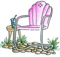 Pink Ink Wood Mounted Rubber Stamp Vintage Garden Chair - product image