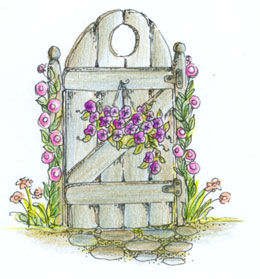 Pink Ink Wood Mounted Rubber Stamp Petunias on the Gate - product image