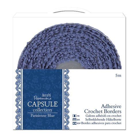 5m,Adhesive,Crochet,Borders,-,Capsule,Collection,Parisienne,Blue,bare basics,cork,hearts,kg krafts,do crafts,craft supplies,scrapbook supplies, card making