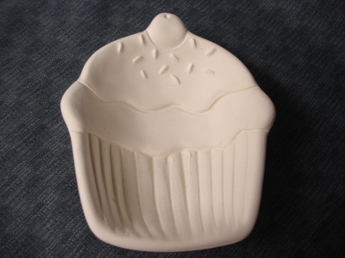 Cupcake dish ceramic bisque ready to paint kgkrafts 39 s for Bisque ceramic craft stores