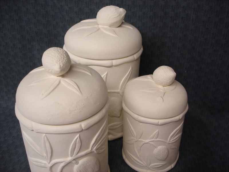 Lemon and Fruit Cannister Three Piece Set Ceramic Bisque Ready to Paint  - product image