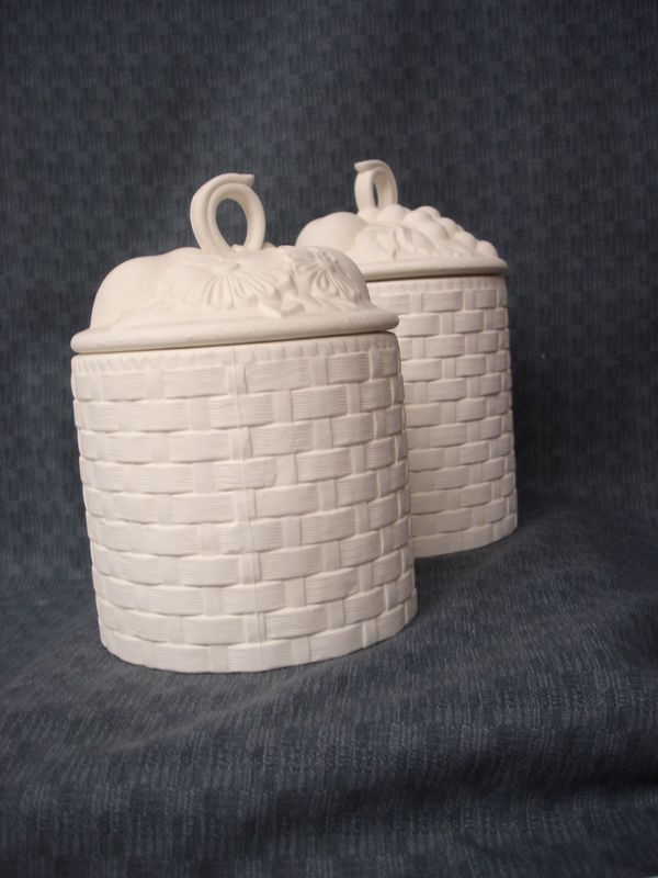 Fruit Basket Cannister Two Piece Set Ceramic Bisque Ready to Paint  - product image