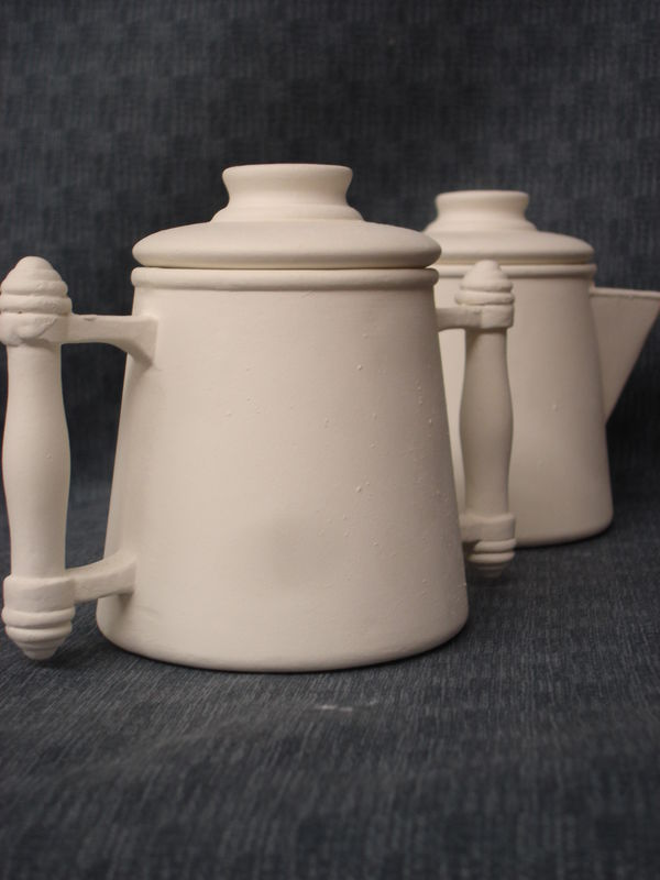 Colonial Style Sugar and Creamer two Piece Set Ceramic Bisque Ready to Paint  - product image