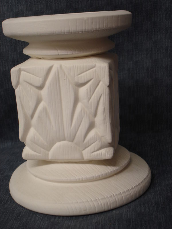 Sunburst Candle Holder Ceramic Bisque Ready to Paint  - product image