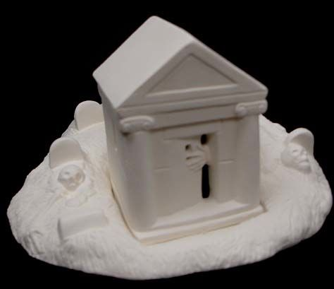 Scioto Haunted Crypt and Graveyard in Ready to Paint Ceramic Bisque - product images