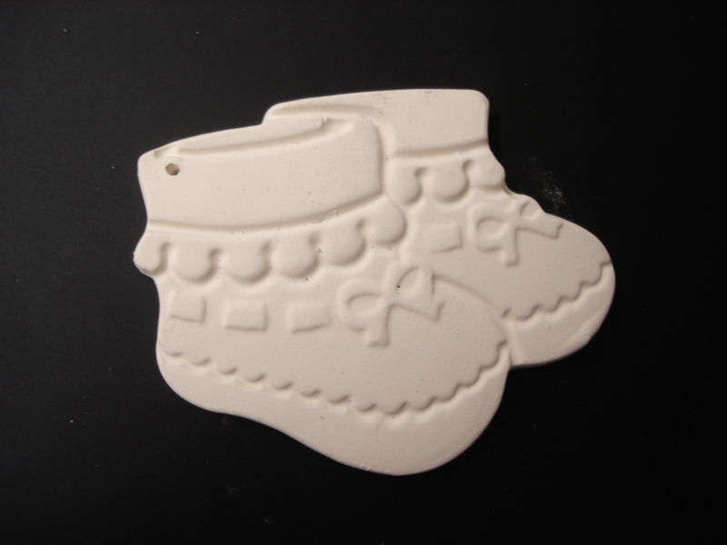 Ornament Baby Booties  in Ready to Paint Ceramic Bisque - product images