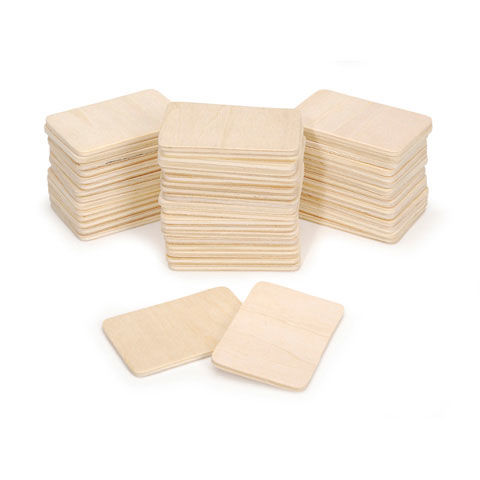 Wood Pieces - Natural - 2-1/4 x 1-7/8 x 3mm - 50 pieces - Value Pack - product images