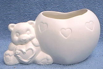 Teddy,Bear/Heart,Candle,Cup,teddy bear,tea light,candleholder, ceramic bisque,bisque,ready to paint,kg krafts,painting surface
