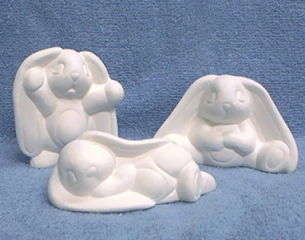 Tired,Bunnies,3,inch,-,set/3,tired bunny,bunnies,ceramic bisque,bisque,ready to paint,kg krafts,painting surface