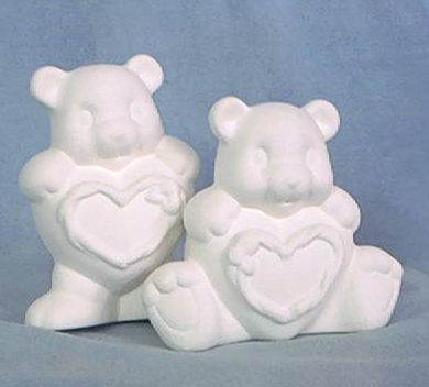 Two,Heart,Bears,5,Tall,set,of,2,Clay,Magic,Molds,teddy bears,valentine,ceramic bisque,bisque,ready to paint,kg krafts,painting surface