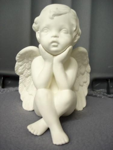 Pondering Cherub with Chin in Hands Ready to Paint Ceramic Bisque - product images