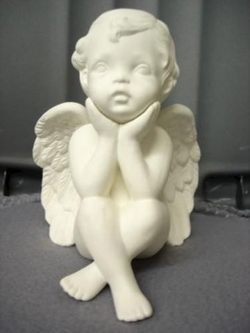 Small,Pondering,Cherub,with,Chin,in,Hands,cherub, angel, ceramic bisque, ready to paint,kg krafts,shower favors