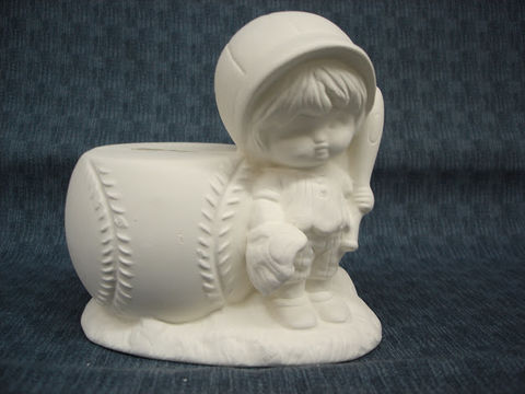 Baseball,Kid,Bank,Ceramic,Ready,to,Paint,ceramic bisque,ready to paint,ceramics, bisque,kg krafts,baseball,bank