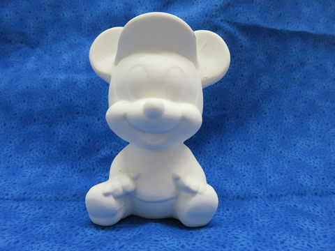 Baby,Mickey,Mouse,Ceramic,Bisque,Disney, Mickey Mouse, ceramic bisque, ready to paint,kg krafts,shower favors