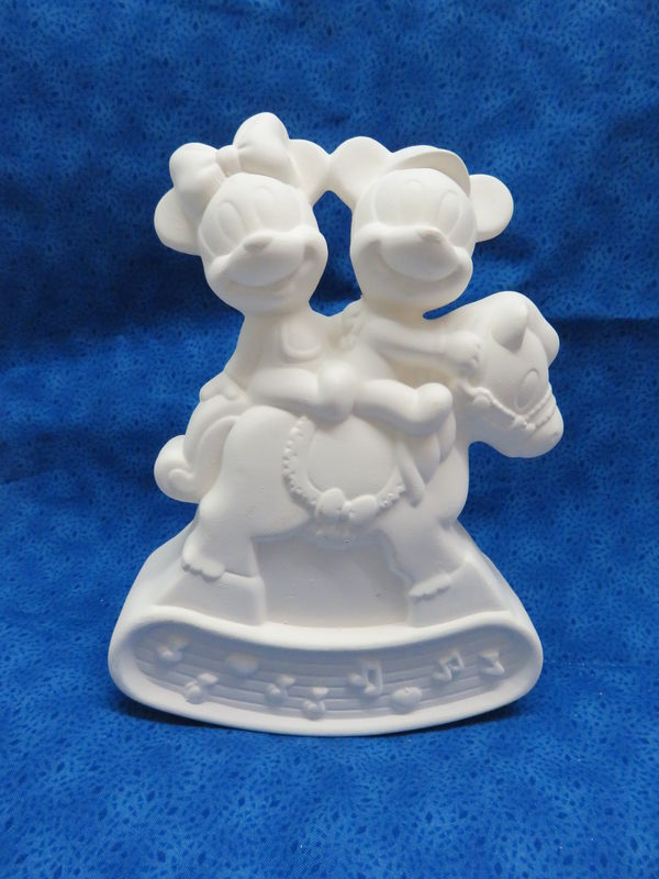 Baby Mickey and Minnie On a Rocking Horse Ceramic Bisque - product images